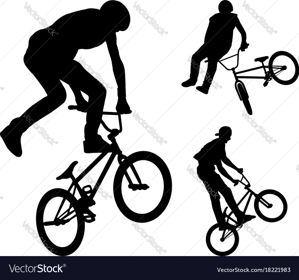 bmx stunt cyclists silhouettes