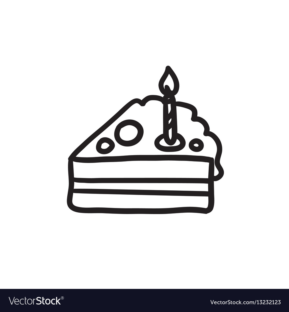 hight resolution of slice of cake with candle sketch icon vector image