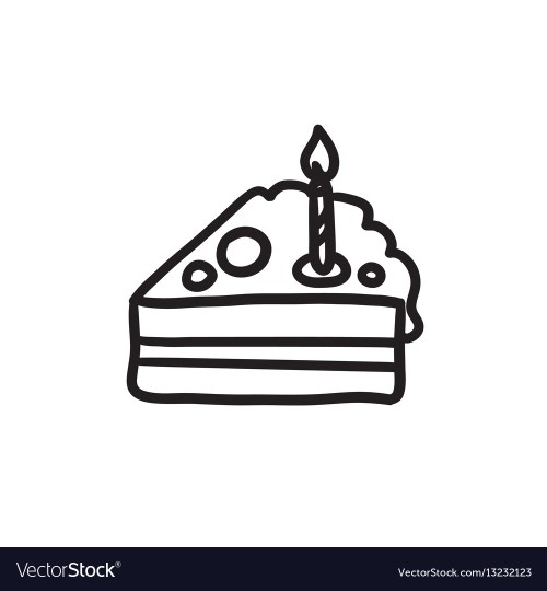 small resolution of slice of cake with candle sketch icon vector image