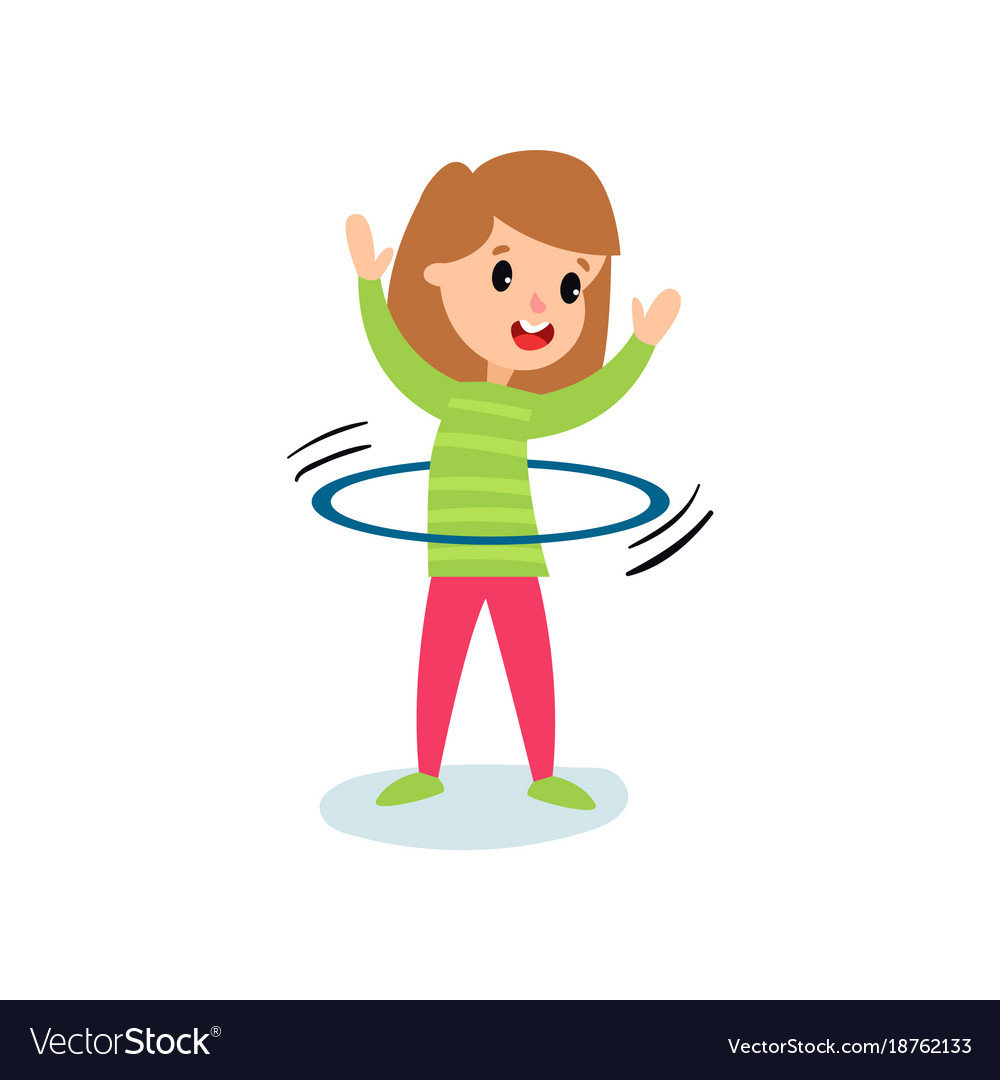 medium resolution of smiling little girl character spinning a hula hoop vector image