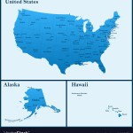 Detailed Map Of Usa Including Alaska And Hawaii Vector Image