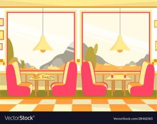 Bistro restaurant cafeteria dining room interior Vector Image