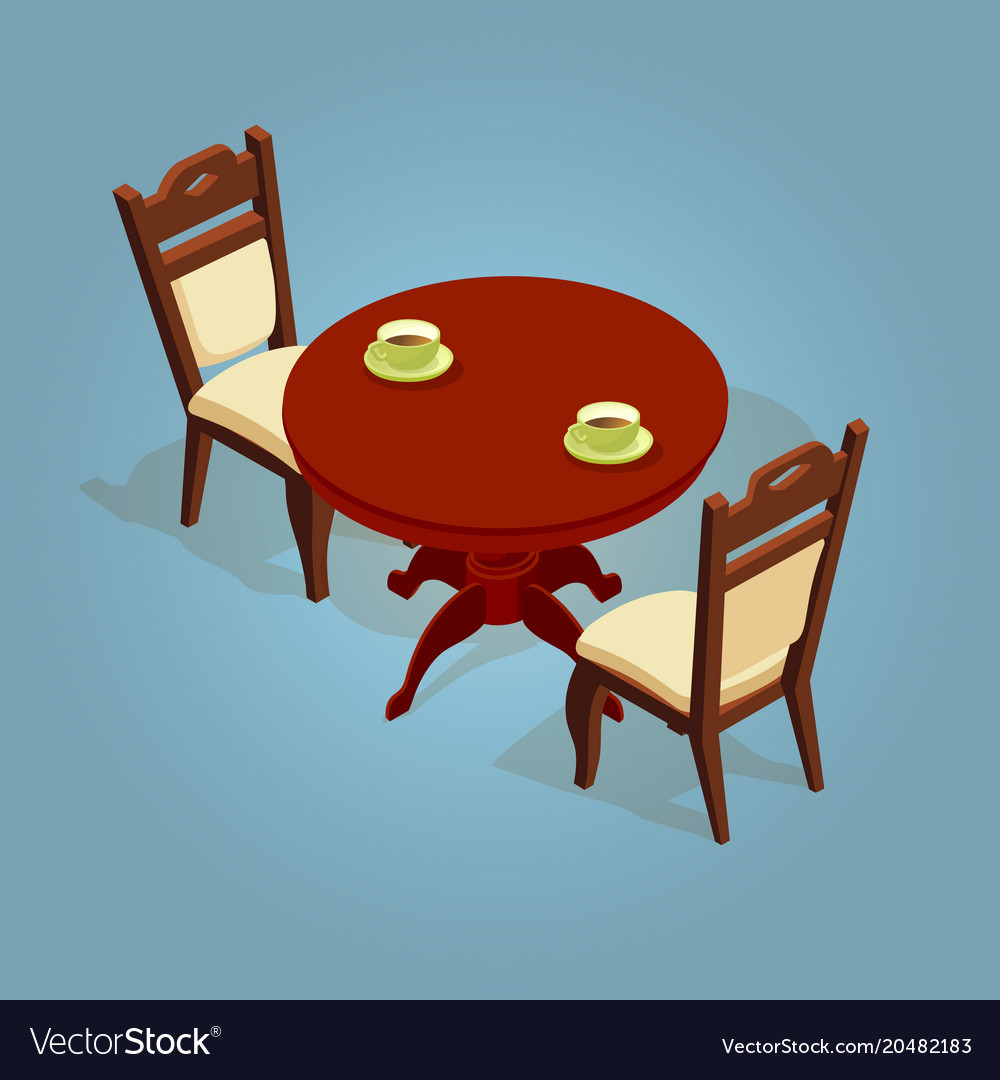 Table With Two Chairs Set Of The Isometric Cartoon Table And Two Chairs Vector Image On Vectorstock