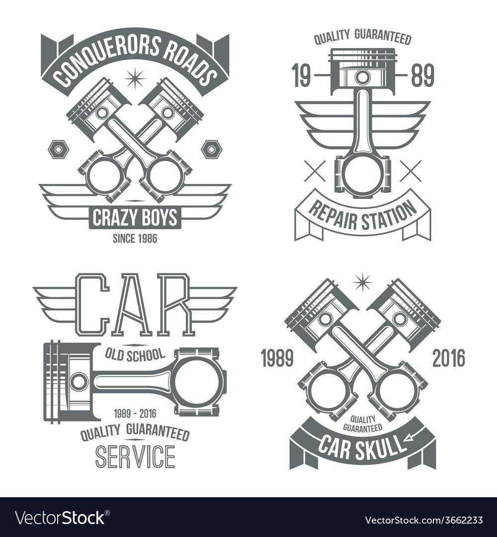 medium resolution of car engine piston emblems vector image