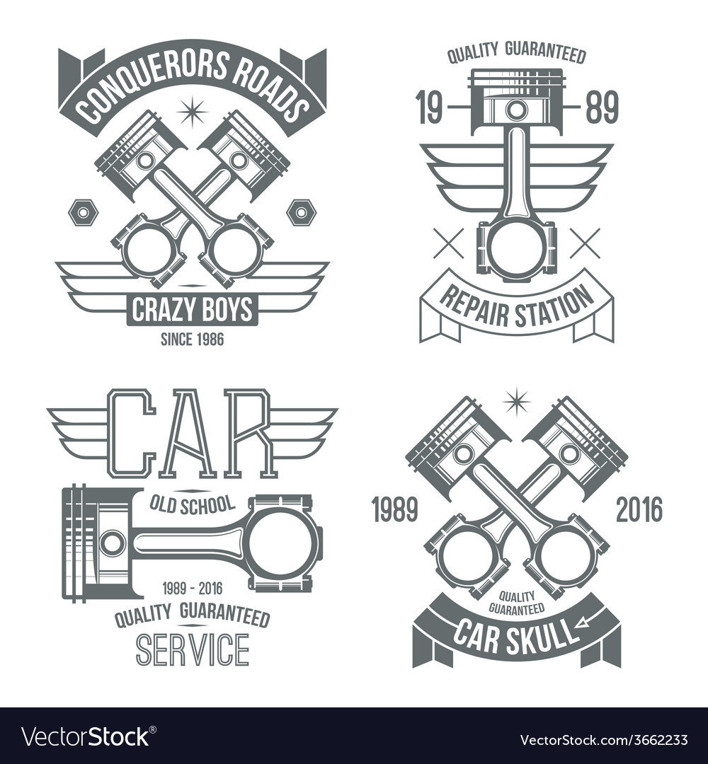 hight resolution of car engine piston emblems vector image