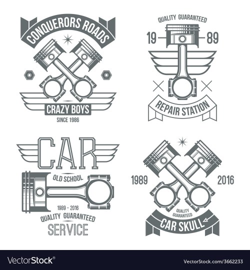 small resolution of car engine piston emblems vector image