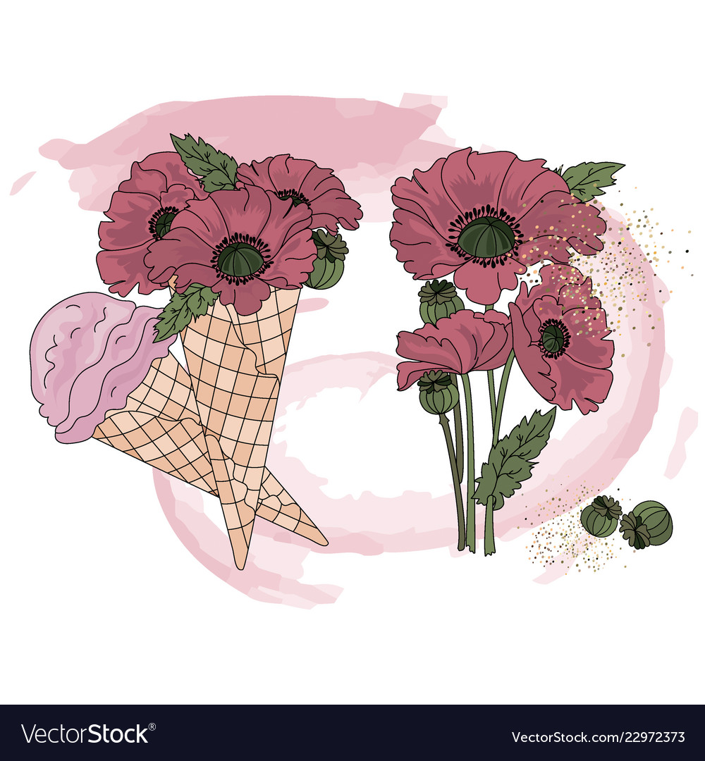 hight resolution of poppy ice cream cartoon clipart color vector image