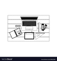 laptop computer and drawing tools over desk on top vector image [ 1000 x 1080 Pixel ]