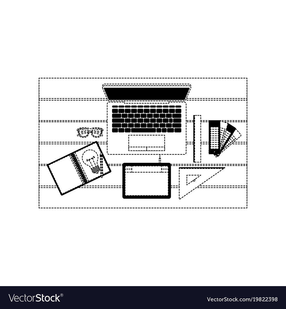 hight resolution of laptop computer and drawing tools over desk on top vector image