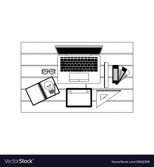 small resolution of laptop computer and drawing tools over desk on top vector image