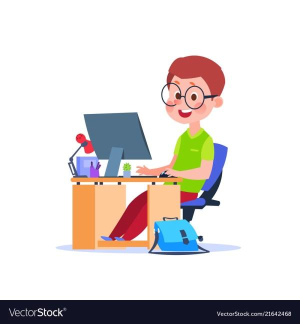 Child Computer Cartoon Boy Learning Desk Vector