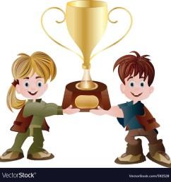 kids holding trophy vector image [ 1000 x 1027 Pixel ]