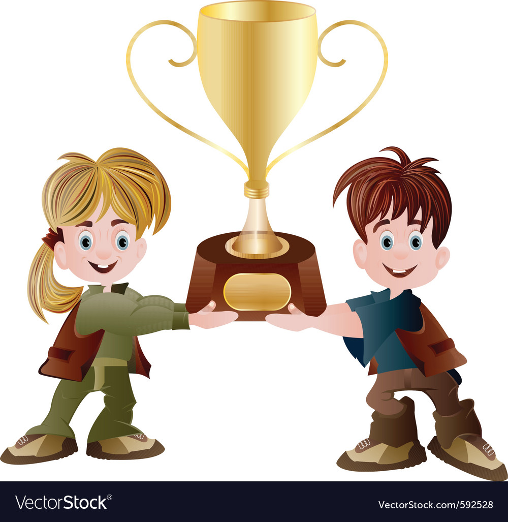 hight resolution of kids holding trophy vector image