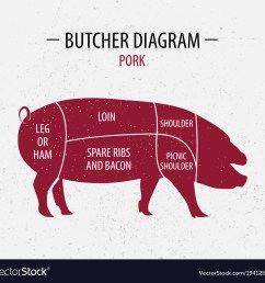 cut of pork poster butcher diagram vector image [ 1000 x 955 Pixel ]