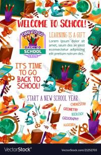 Back to school supplies sale offer banner design Vector Image