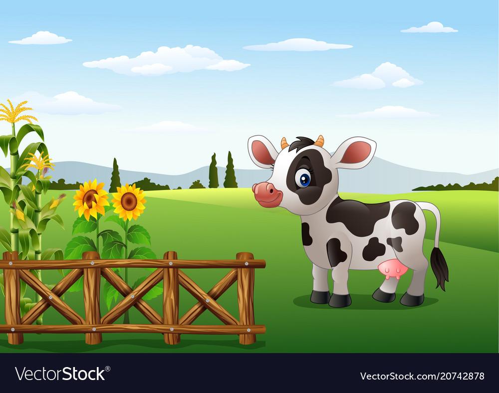 cartoon cow with farm