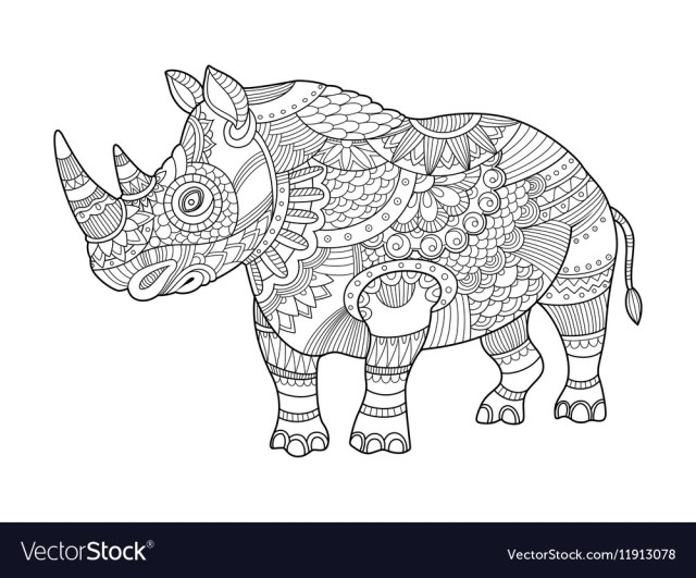 Rhinoceros coloring book for adults Royalty Free Vector