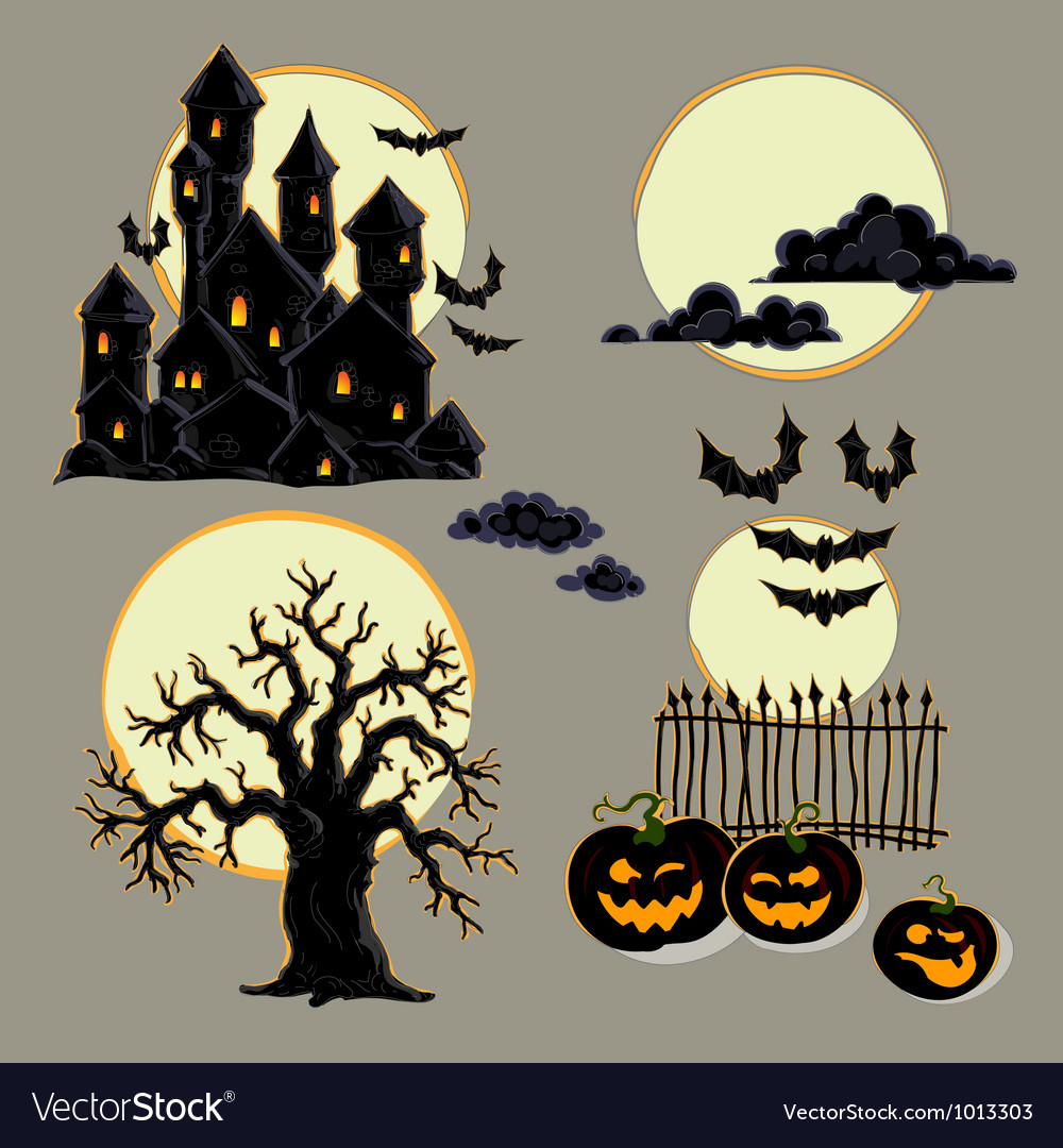 medium resolution of set of halloween elements vector image