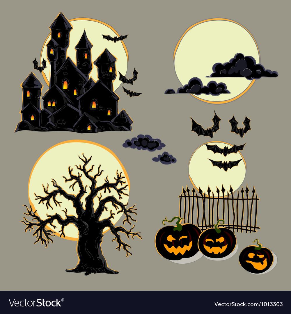 hight resolution of set of halloween elements vector image