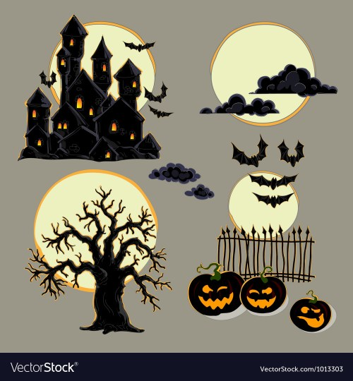 small resolution of set of halloween elements vector image