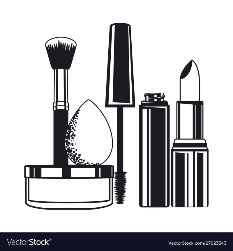 Make Up Brushes And Cosmetics Vector Image