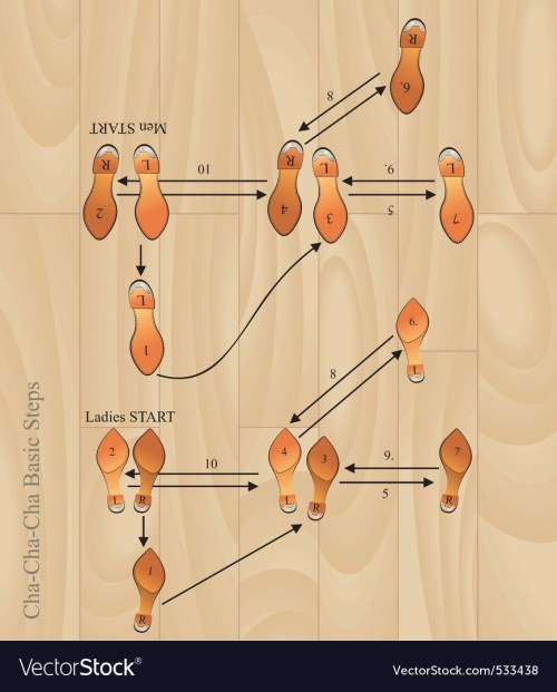 small resolution of chacha basic steps vector image