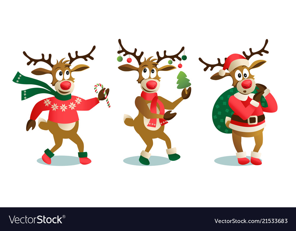 Cute And Funny Christmas Reindeers Cartoon Vector Image