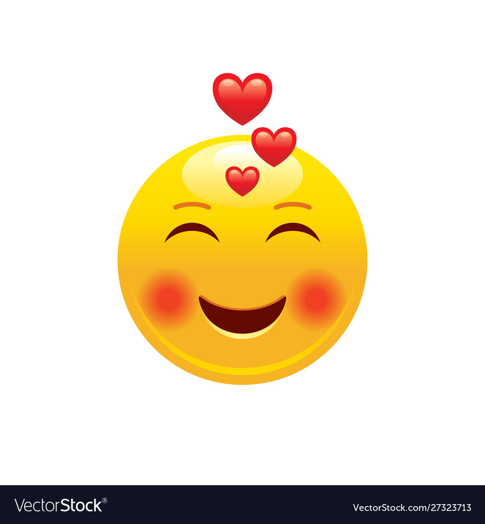 Download Heart emoji couple icon 3d face smile for love Vector Image