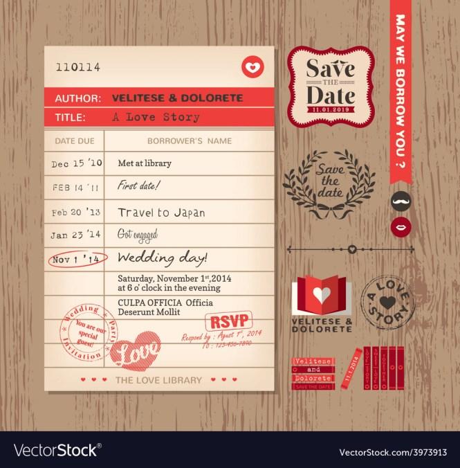 Library Card Creative Wedding Invitation Design