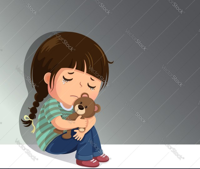 Sad Little Girl Sitting Alone With Her Teddy Bear Vector Image