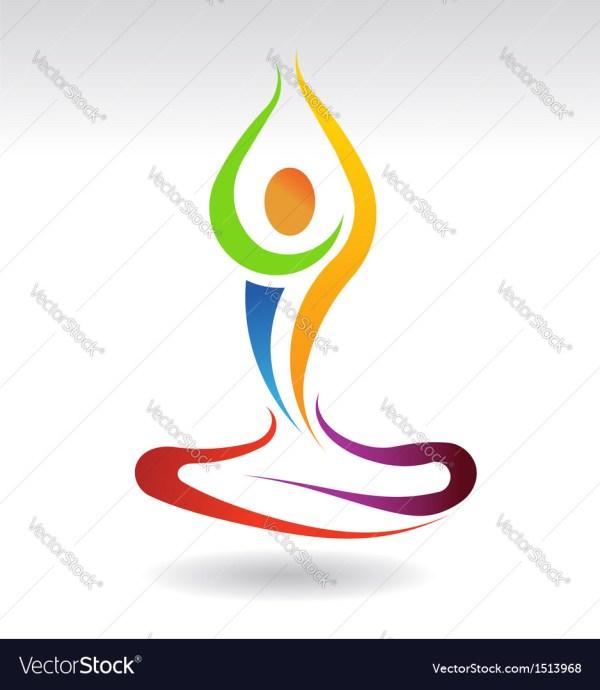 Yoga Mental Peace Logo Royalty Free Vector