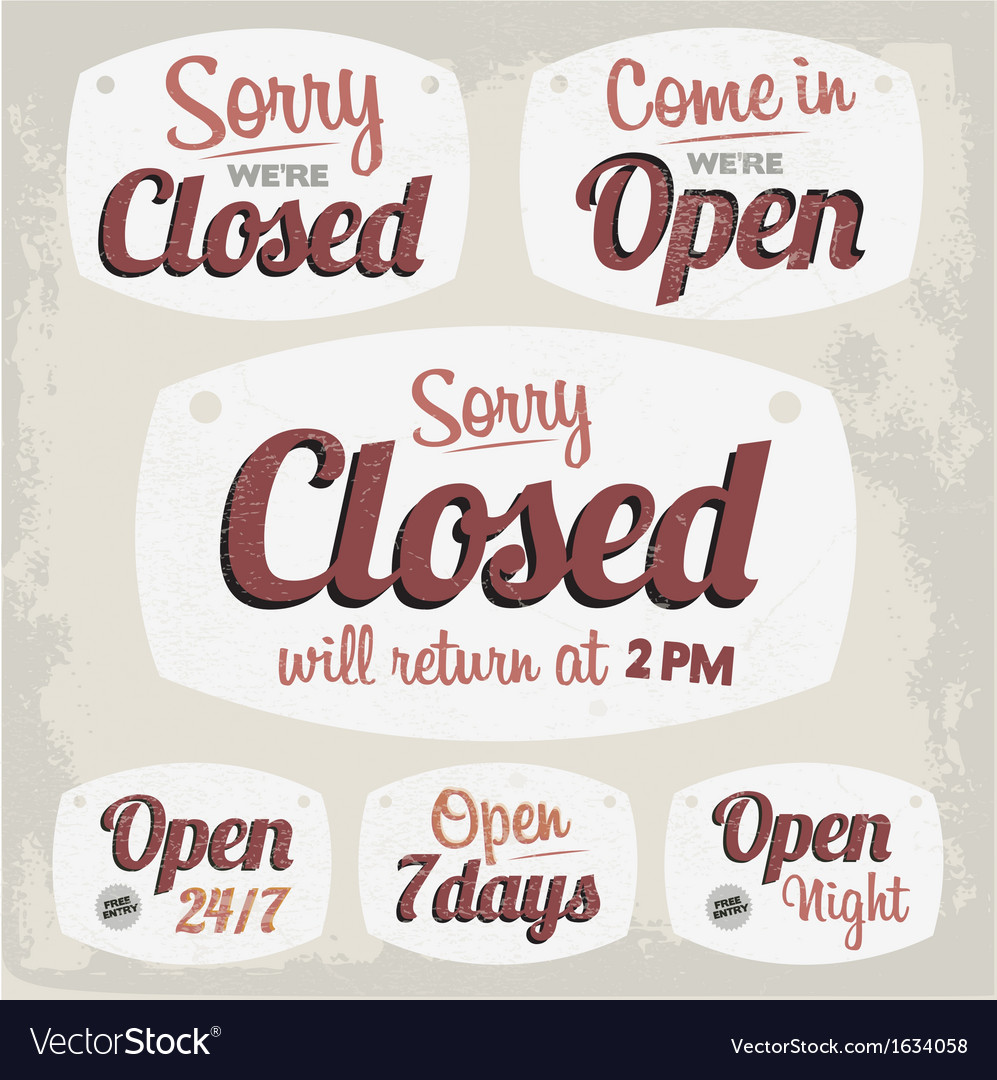 retro vintage open closed