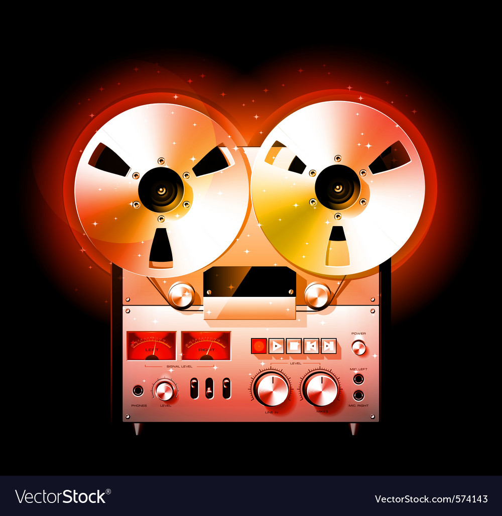 hight resolution of reel to reel stereo tape deck recorder vector image