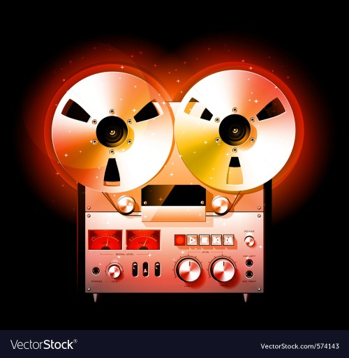 small resolution of reel to reel stereo tape deck recorder vector image