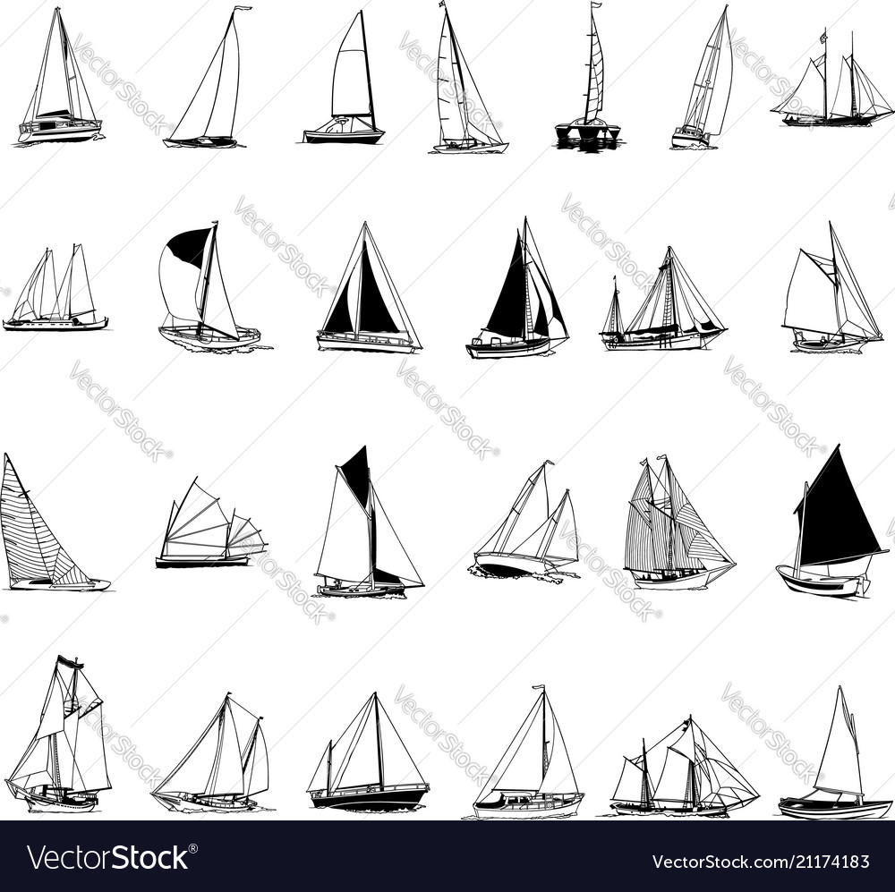 hight resolution of sailboat collection cartoon clipart vector image