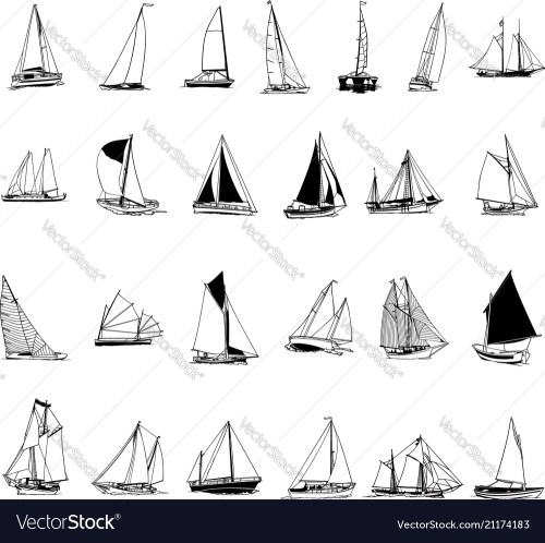 small resolution of sailboat collection cartoon clipart vector image