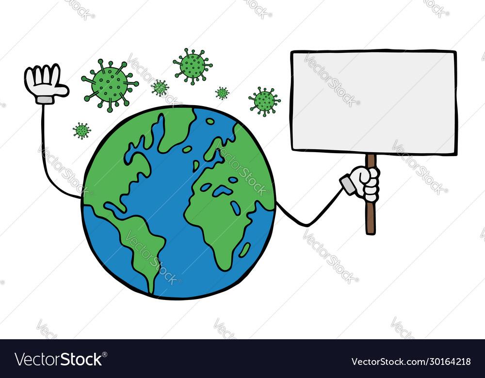 Earth With Mask Drawing Corona Virus