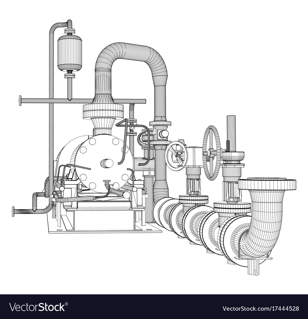 hight resolution of wire frame industrial pump vector image