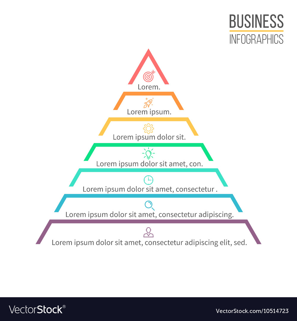 hight resolution of pyramid triangle with 7 steps levels vector image