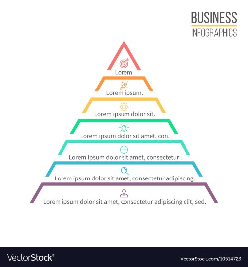 small resolution of pyramid triangle with 7 steps levels vector image