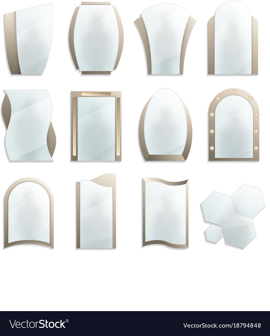Home Decorative Wall Mirrors Icon Set Royalty Free Vector