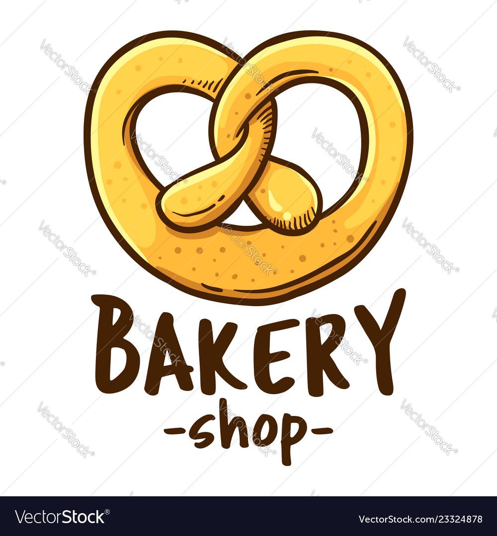 Pretzel Bakery Shop Logo Icon Royalty Free Vector Image