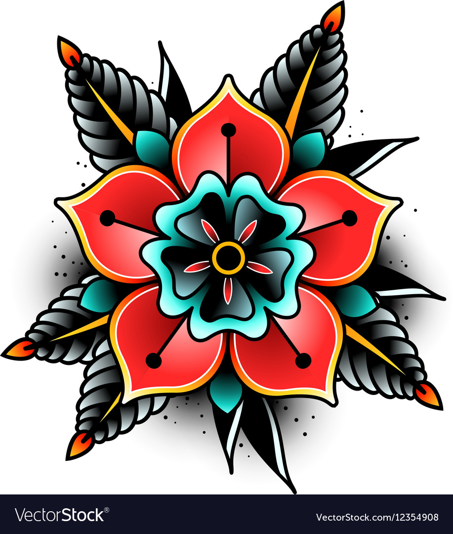 Old School Flower Tattoo  Flowers Ideas For Review