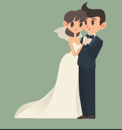 bride and groom cartoon character vector image [ 875 x 1080 Pixel ]