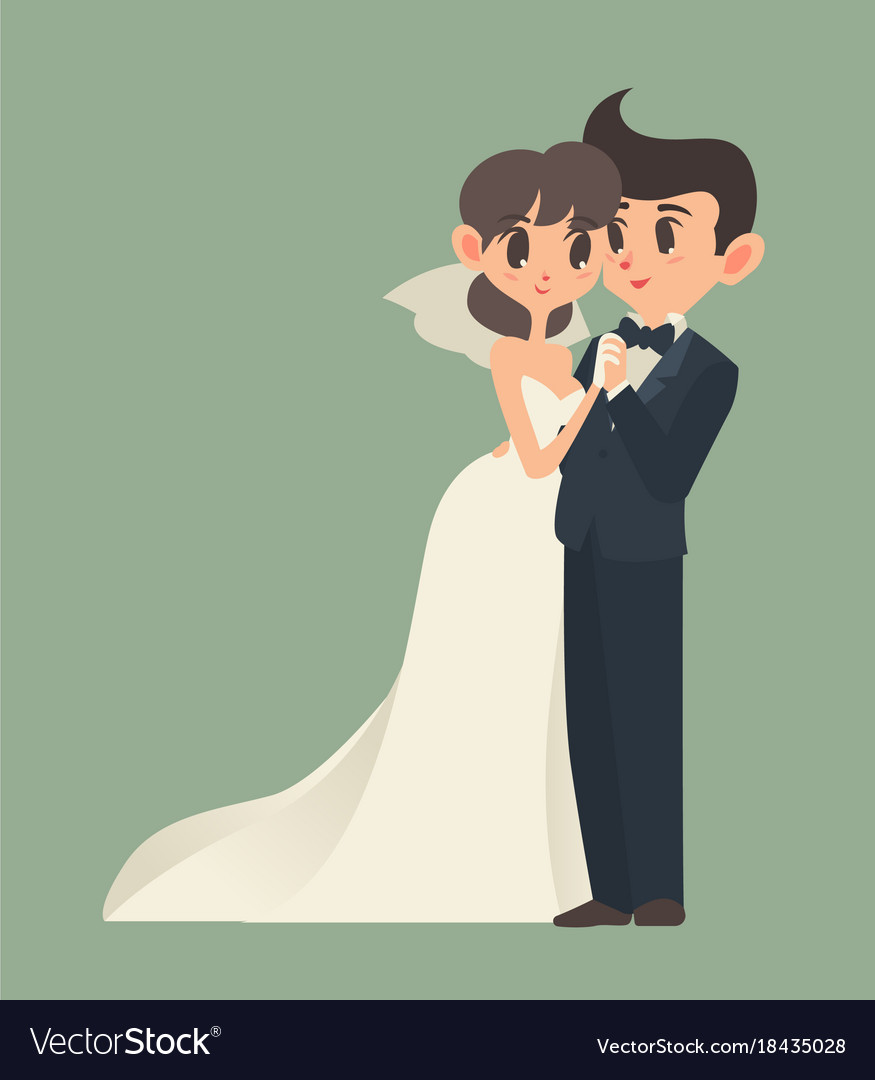 hight resolution of bride and groom cartoon character vector image