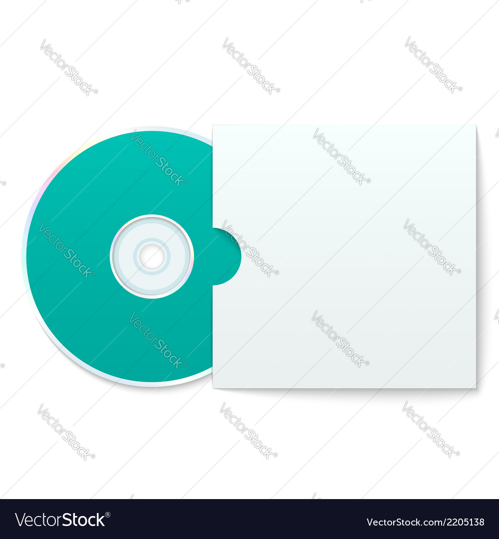 hight resolution of blank compact disk with cover vector image