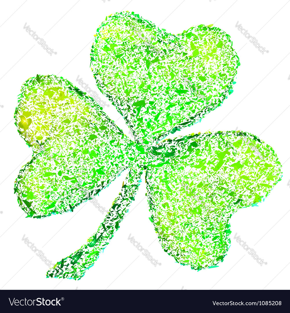 medium resolution of isolated green clover on white vector image