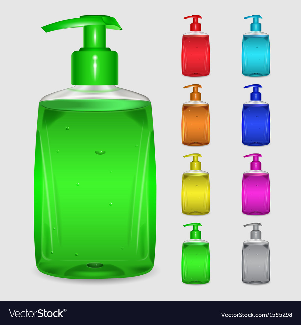 set of multicolored bottles