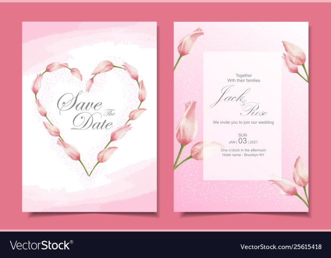 Modern Tulips Wedding Invitation Cards Template