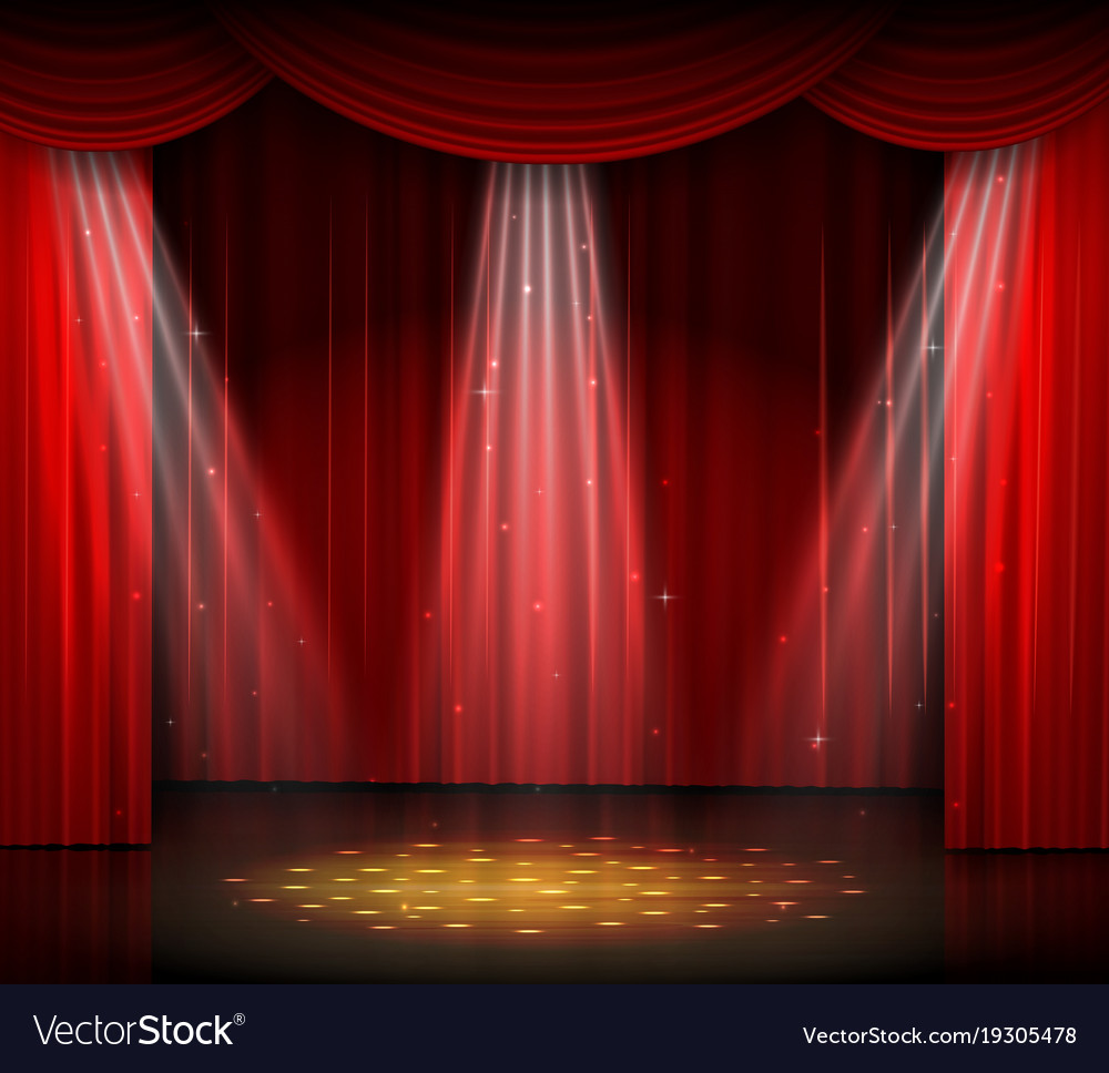 Empty stage with red curtain and spotlight on wood